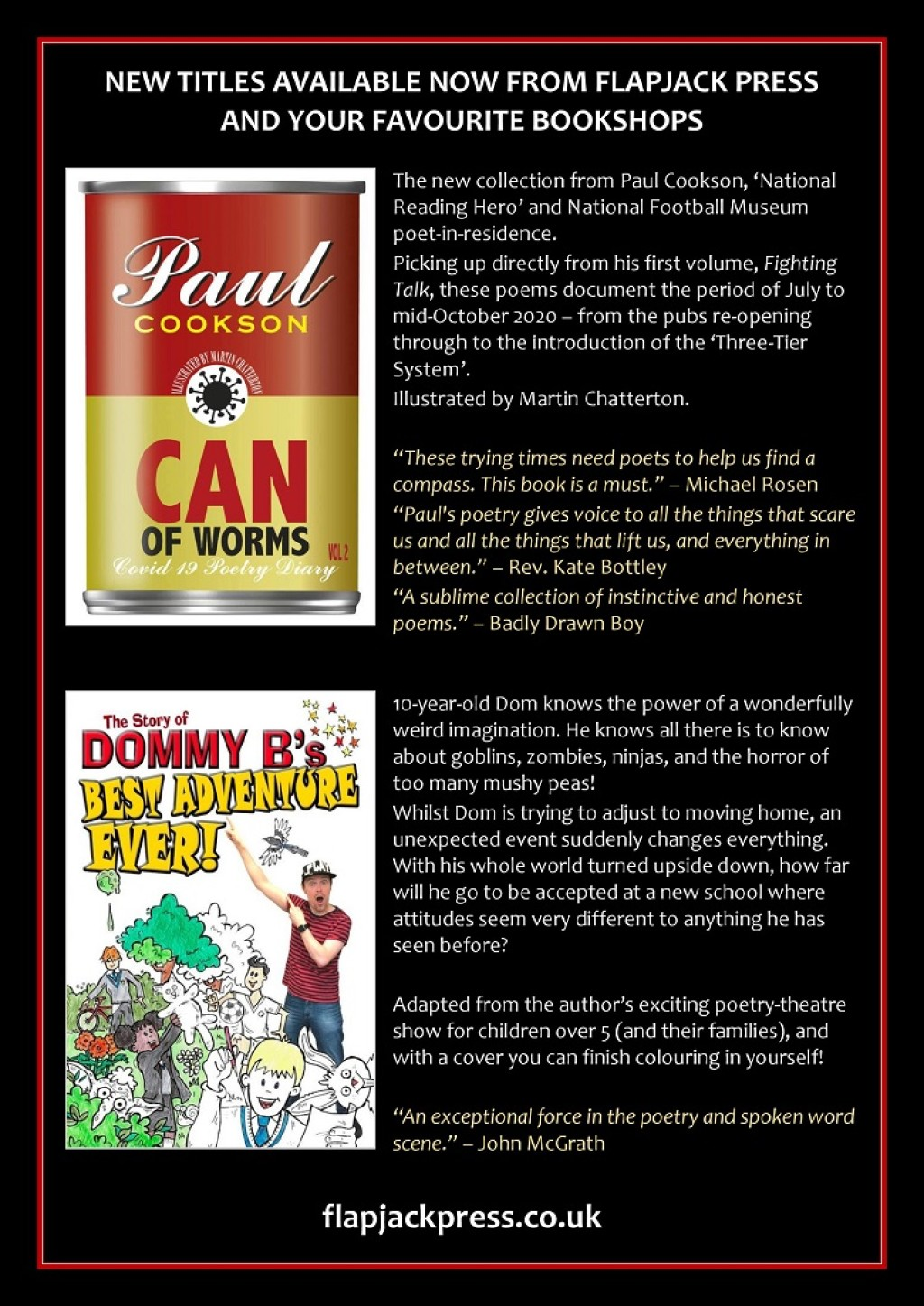 Out Now! Can of Worms by Paul Cookson and Best Adventure Ever! by Dommy B